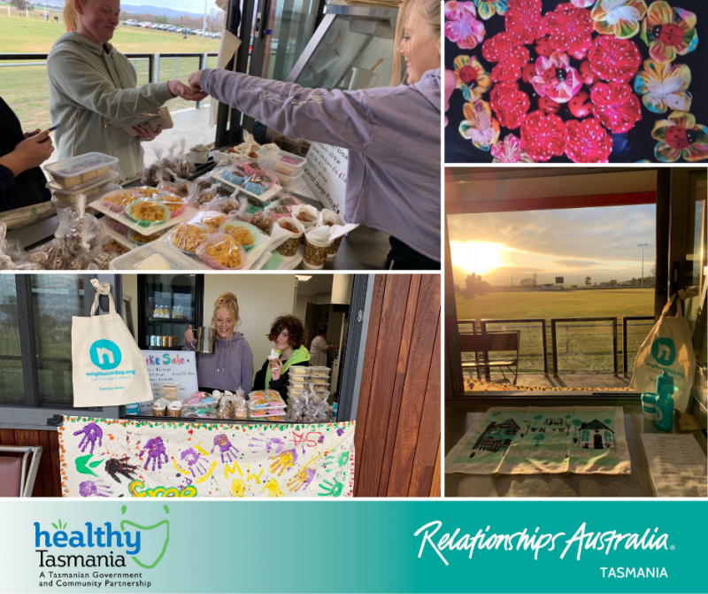 Collage of images from Free2BGirls' neighbour day initiative. Girls operating a baking stall; Neighbour Day promotional material as the morning sun shines in; an art postcard with flowers and ladybugs.