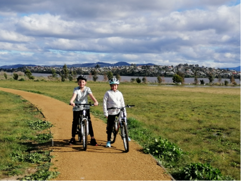 Andrew Hyatt's two children on their bikes next to the subloop