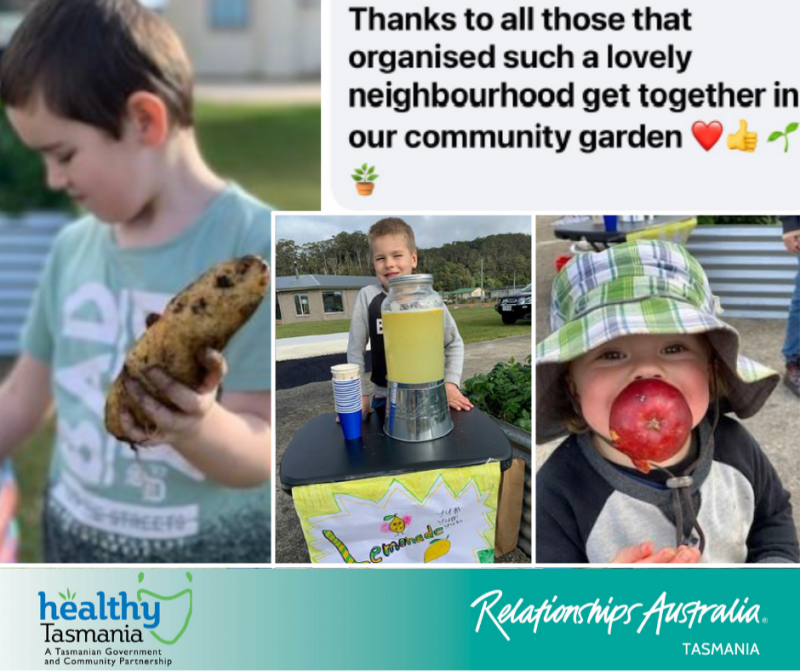 """Collage of images from a community day. Children holding a potato, eating an apple and operating a lemonade stall. A Facebook comment says, """"Thanks to all those that organised such a lovely neighbourhood get together in our community garden"""" with a heart emoji and various plant emojis."""