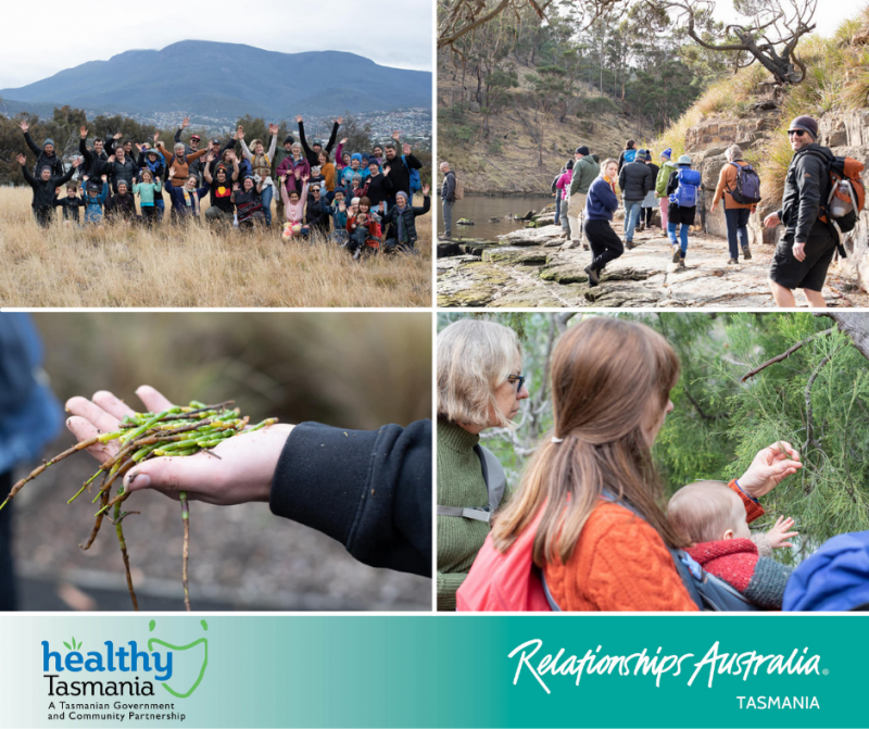 Collage of images from Clarence climate Action's cultural awareness day. A large group of people posing for a photo; people walking through country; people learning about bush foods.