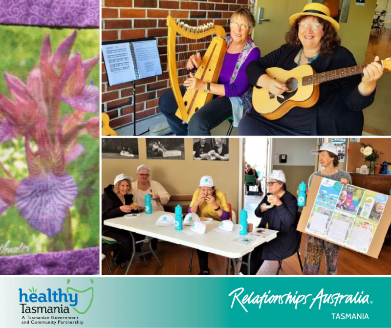 Collage of images from a heath expo. Community members enjoying lunch together with their neighbour day promotional material and community flyers; people playing the harp and guitar together; a flowery quilt.