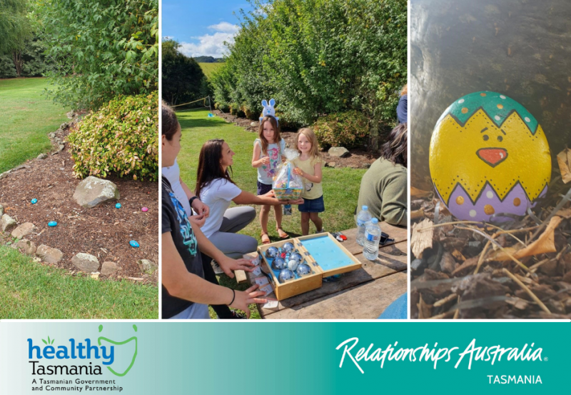 """Three images from an Easter fun day. """"Easter eggs"""" made of rocks scattered in a garden; excited children receiving a prize."""