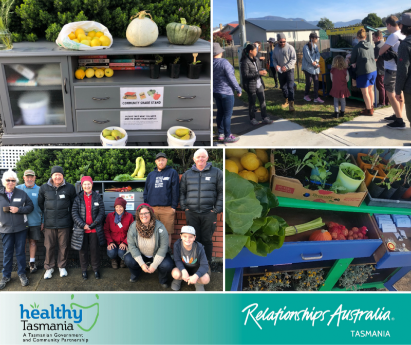 Collage of images from creation of a share station. A share station with lots of fresh produce, as well as books; people posing in front of the station, smiling.