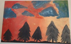 Painting of five trees with orange sky and grey clouds.