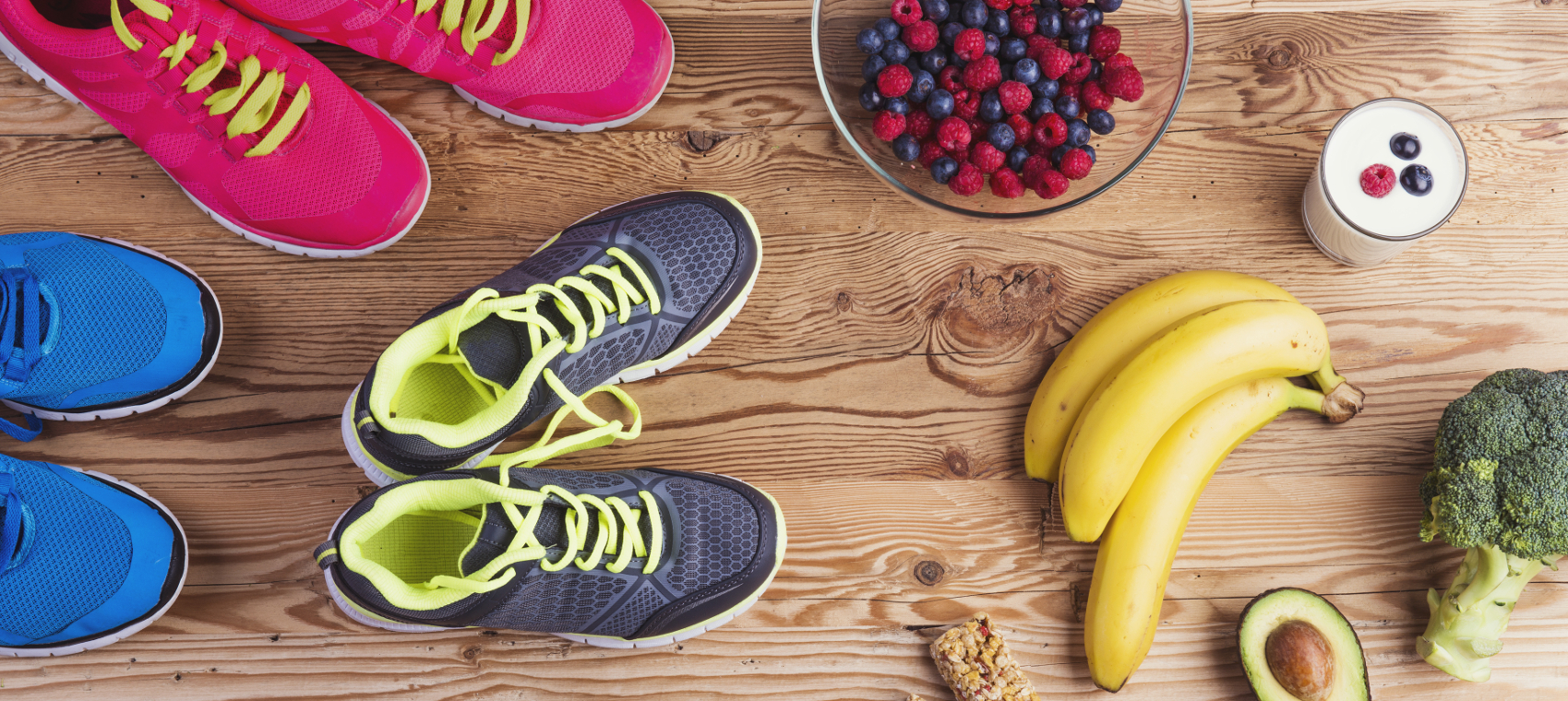 Vegetables, weights and sneakers.